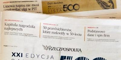 "Rising position of the Unibep Group on the Rzeczpospolita ""List of 500"""