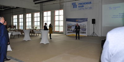 Topping out ceremony at the new production hall of the infusion fluid manufacturing plant of Fresenius Kabi company in the city of Kutno